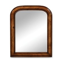 Small walnut mirror with curved top
