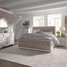 King California Upholstered Sleigh Bed, Dresser & Mirror, Chest, N/S