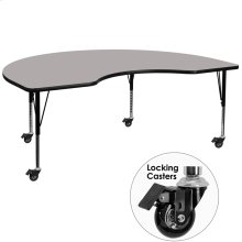 Mobile 48''W x 72''L Kidney Grey HP Laminate Activity Table - Height Adjustable Short Legs