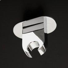 Hook for hand-held shower head.