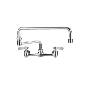 Wall mount utility faucet with a double-jointed retractable swing spout and lever handles. Product Image