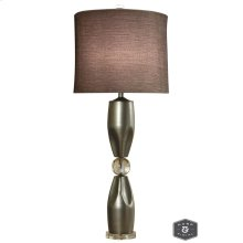 GENOA TABLE LAMP  Brushed Steel Finish on Metal Body with Crystal Ball and Base  Hardback Shade