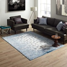 Chiara Distressed Floral Lattice Contemporary 5x8 Area Rug in Moroccan Blue and Ivory