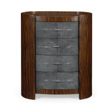 Faux Macassar & Anthracite Shagreen Oval Bedside Chest
