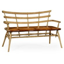 Natural Oak Bench with Studded Leather Seat
