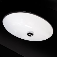 "Under-counter porcelain Bathroom Sink with an overflow, 21""W, 13""D, 6""H"