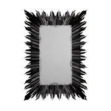 Black Finish Rectangular Sunburst Mirror