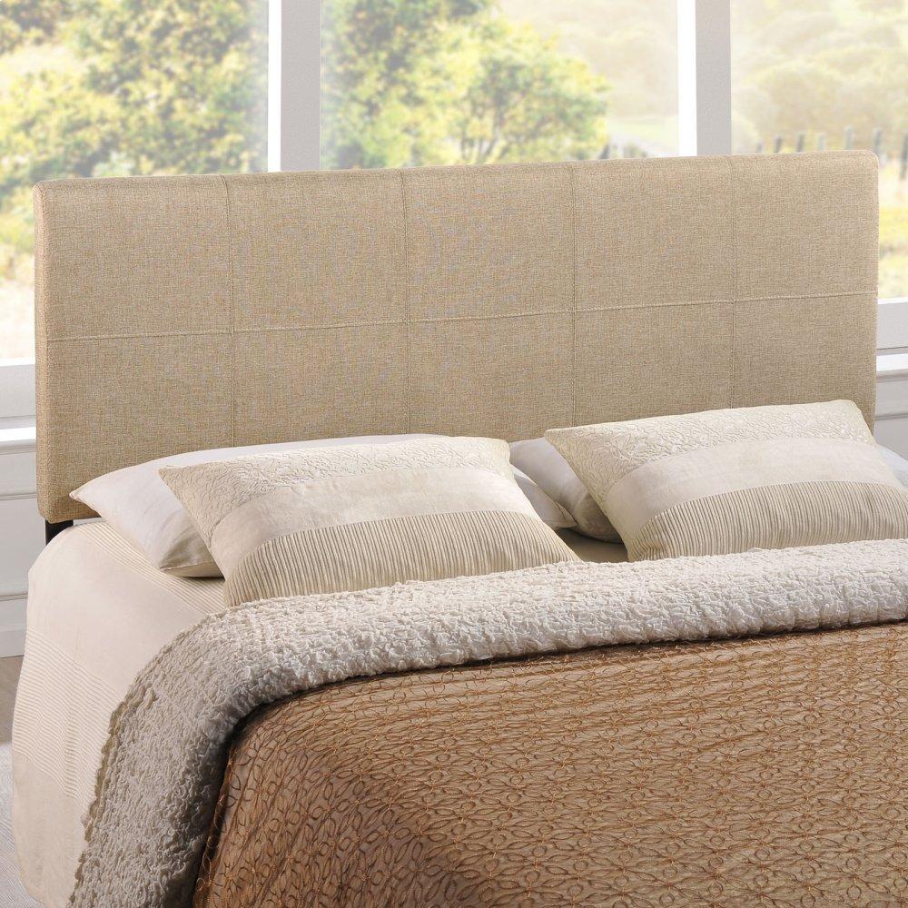 Oliver Queen Upholstered Fabric Headboard in Beige