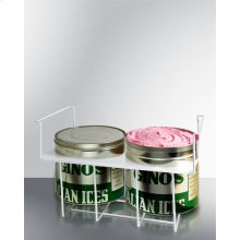 Basket Holder for Two Conventional Round Ice Cream Tubs (9.5 Inch) Available for Any Flat Glass Slide Top Freezer.