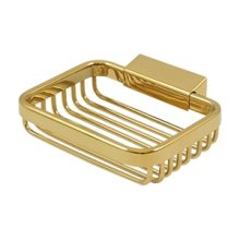 "Wire Basket, 4 3/4"" Rectangular Soap Holder - PVD Polished Brass"
