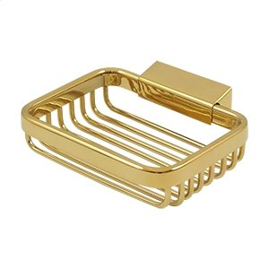 """Wire Basket, 4 3/4"""" Rectangular Soap Holder - PVD Polished Brass Product Image"""
