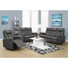 RECLINING - SOFA CHARCOAL GREY BONDED LEATHER