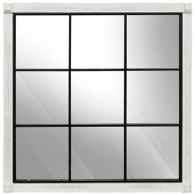 Black and White Window Pane Mirror  35in X 35in X 2in  Framed Wall Mirror