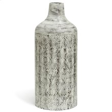 White Washed  18in x 8in Decorative Floral Metal Vase