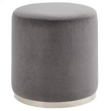 Opus Round Ottoman in Grey & Silver