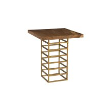 Ladder Bar Table, Suar Wood, Natural/Brass Finish