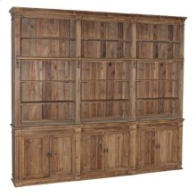 Reclaimed Pine Triple Section Bookcase with Ladder