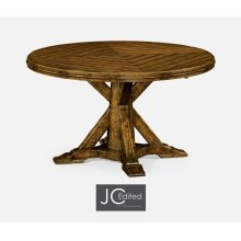 "53"" Country Walnut Parquet Round-To-Oval Dining Table"