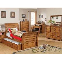 Rustic Oak Finish Full Size Bedroom Set