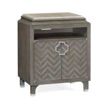 Pewter Oak Nightstand with Marble Top