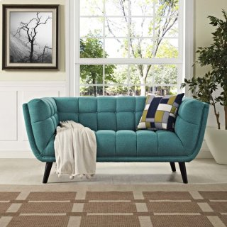 Bestow Upholstered Fabric Loveseat in Teal