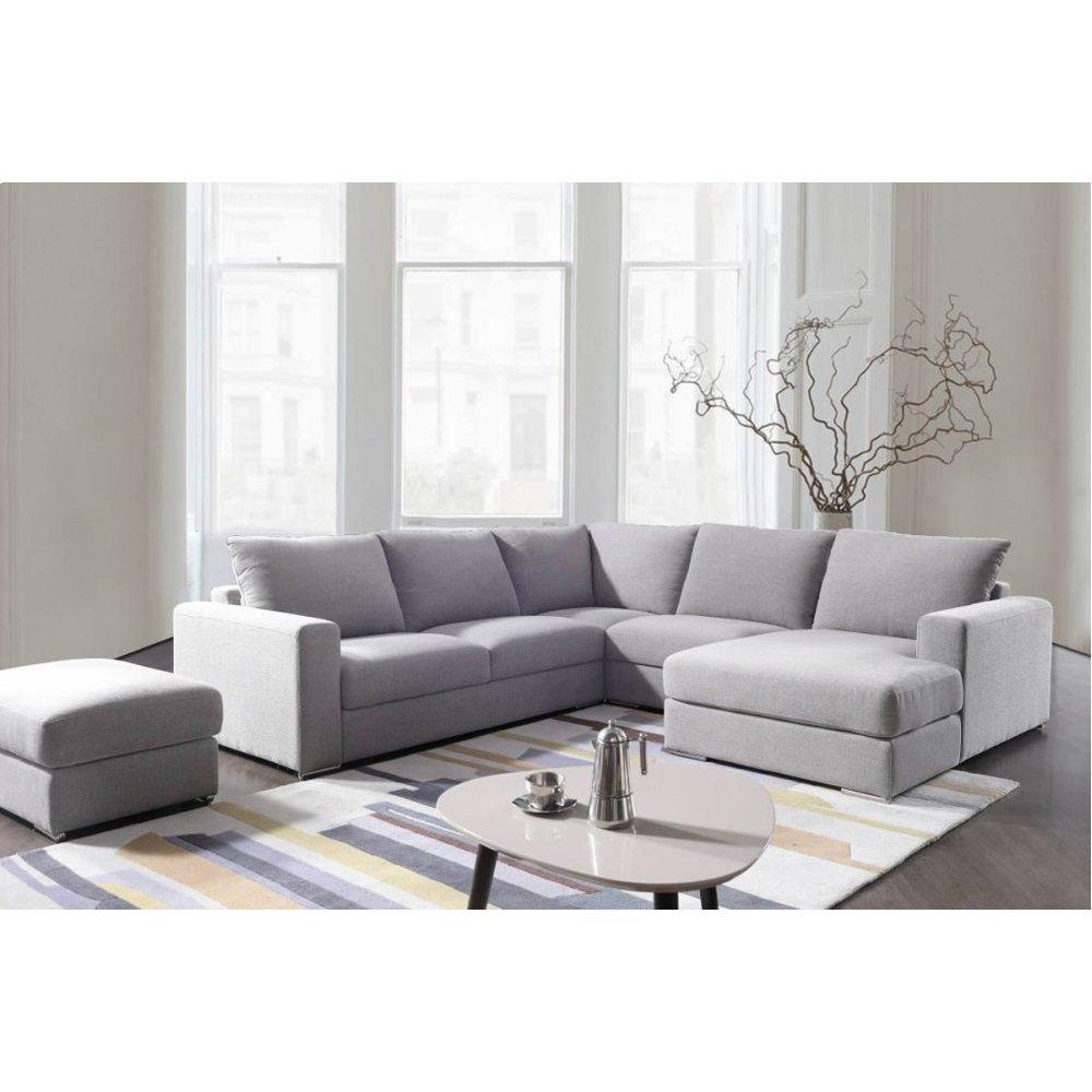 Divani Casa Valley Modern Grey Fabric Sectional Sofa & Ottoman