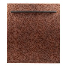 "24"" Dishwasher Panel in Hand-Hammered Copper with Modern Handle (DP-HH-24)"