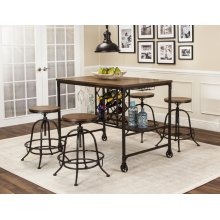 CR-W3075  5 Piece Pub Table Set with Built-In Wine Rack