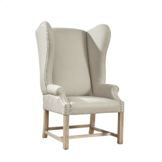 Grand Linen Wingback Chair