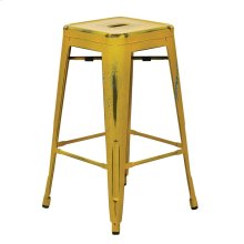 "Bristow 26"" Antique Metal Barstools, Antique Yellow With Blue Specks, 2-pack"