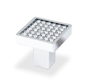 Small Sqaure Knob With Round Swarovski Crystal, Bright Chrome Product Image