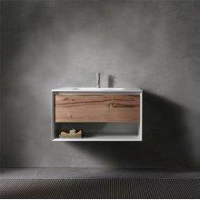 "45° UP series 700 vanity w/shelf, White Matte frame/Vintage Oak front; 27 1/2""w x 19""h x 20""d"