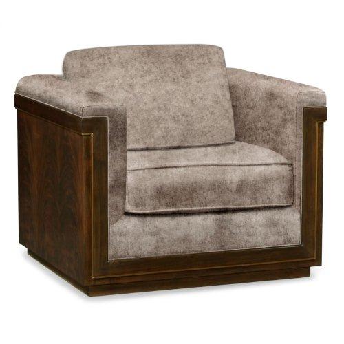 36'' Antique Mahogany Brown High Lustre Sofa Chair, Upholstered in Truffle Velvet