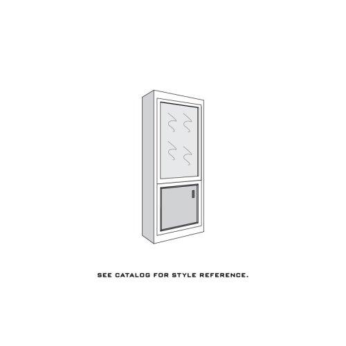 """Loft Bookcase Unit, 18""""w, Glass Door on Top, Wood Door on Bottom, 4-Adj. Shelves, Antique Glass"""