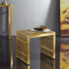 Gridiron Small Stainless Steel Bench in Gold