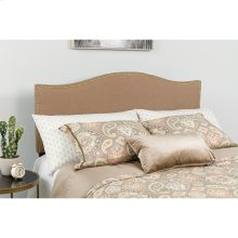 Lexington Upholstered King Size Headboard with Accent Nail Trim in Camel Fabric