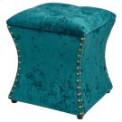 Amelia Velvet Fabric Nailhead Tufted Storage Ottoman, Persian Turquoise Product Image