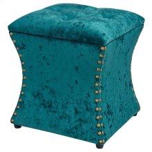 Amelia Velvet Fabric Nailhead Tufted Storage Ottoman, Persian Turquoise
