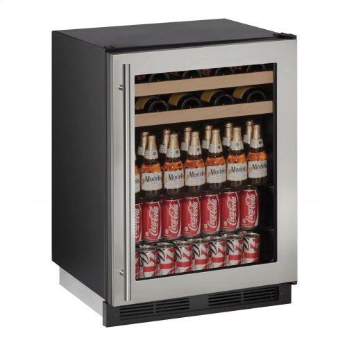 "24"" Beverage Center Stainless Frame Field Reversible"