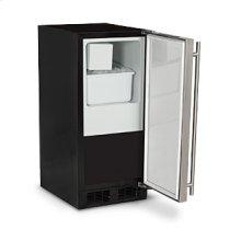 "Marvel 15"" Crescent Ice Machine - Solid Black Door, Stainless Steel Handle - Right Hinge"
