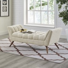 Response Medium Upholstered Fabric Bench in Beige