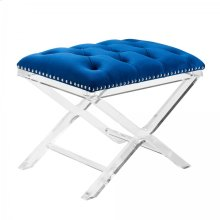 Armen Living Cody Modern and Contemporary Tufted Ottoman in Blue Velvet with Acrylic Legs