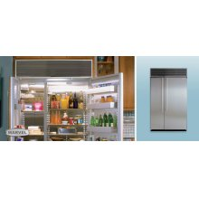 "48"" Refrigerator Freezer - 48"" Marvel Side-by-Side Combination Refrigerator Freezer - White Interior with Panel Ready Stainless Steel Doors"