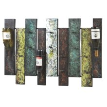 Offset Panel Nine Wine Bottle Wall Holder