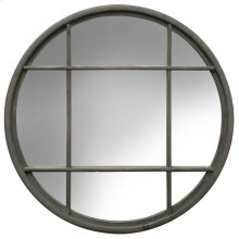 Grey Metal Round Window Pane Mirror  32in X 32in X 1in  Framed Wall Mirror