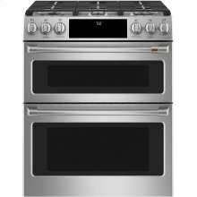 """Café 30"""" Smart Slide-In, Front-Control Gas Double-Oven Range with Convection"""