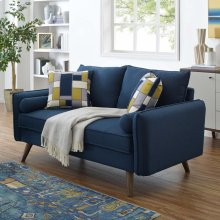 Revive Upholstered Fabric Loveseat in Azure