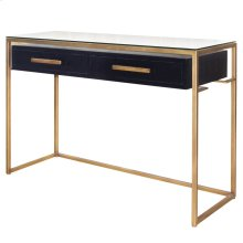Firenze Floating Console Table 2 Drawers Gold Frame, Espresso