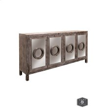MONROE SIDEBOARD  Distressed Natural Finish on Hardwood with Plain Finish Beveled Mirror  4 Door