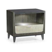 Gatsby Contemporary Dark Grey Walnut & Champagne Silver-leaf Bedside Cabinet